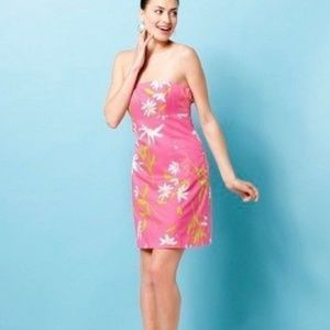 Lilly Pulitzer daisy pink strapless dress